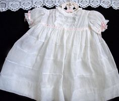 Antique c1920 Childs Baby Doll Vintage Dress Gown White Organdy PinTuck Handmade