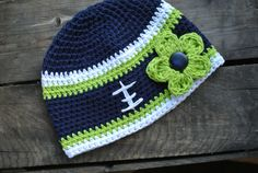 Seahawk Colors Football Beanie by MonarchBlueDesigns on Etsy, $25.00 #seattle #seahawks