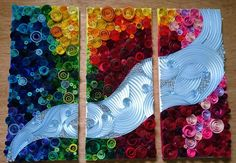 3 PIECE SET OF QUILLED MURIAL