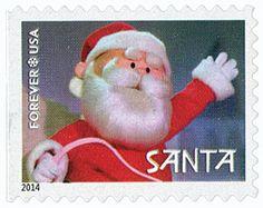 49 - 4948 - 2014 Rudolph: Santa Claus stamp, red, blue, white ...