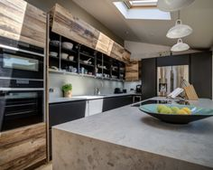 As well as plenty of design features, this kitchen features NEFF appliances which are integrated at a practical height for ease of movement around the kitchen Living Room Storage, Storage Room, Integrated Oven, Larder Unit, Cosy Kitchen, Design Projects, Appliances, House Design, Beautiful Lines