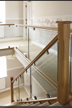Contemporary Oak & Glass - Steel & Glass Staircases - Bespoke Staircases Sort of. Glass Bannister, Glass Stairs, Glass Stair Railing, Bannister Ideas, Wood Railing, Staircase Railings, Banisters, Stairways, Balustrades