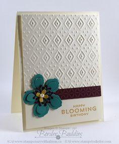 Botanical Blooms stamp set and Boho Chic Embossing folder #stampinup www.stampstoeidofr.com