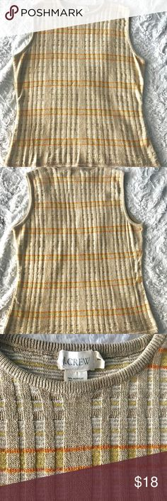 """✨J.Crew Beige Sleeves Knitted Top Size L ✨J.Crew Beige Sleeves Knitted Top With Orange and Yellow Stripes Size L Perfect for Spring. Like new condition!  Measurements laying flat  Bust 18"""" Front length 20.5""""  Please let me know if you have any questions. I ship all my orders in a timely manner. I advise you to measure to your own clothing to avoid any trouble. Thank you! 💋 J. Crew Tops Tank Tops"""