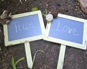 """Two 5""""x7"""" With Burlap Flowers Chalkboard On Post Photo Prop Shabby Chic Elegant Vintage Rustic Menu Message Boards Weddings Bride and Groom"""