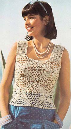 Boho Lace Summer Top 1970s VINTAGE CROCHET PATTERN Lacy Sheer