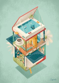 Refreshingly work illustrator Andrea de Santis, a work full of creativity and inspiration. / Refreshing work of the illustrator Andrea de Santis, a work of art pleny of inspiration and creati . Storyboard, Isometric Art, Isometric Design, House Illustration, Digital Illustration, Italy Illustration, Medicine Illustration, Beauty Illustration, Graphic Illustration