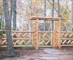 Virginia - Proof that stout construction can also be eye-catching is seen in the Virginia Hurdle fence with its diagonal Chippendale patterns, matching gate and rustic arbor. Rustic Arbor, Rustic Fence, Log Fence, Post And Rail Fence, Walpole Outdoors, Front Yard Patio, Garden Gates And Fencing, Fence Gate Design, Front Garden Landscape