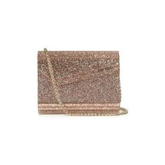 Jimmy Choo Candy small clutch ($750) ❤ liked on Polyvore featuring bags, handbags, clutches, bolsas, pink multi, brown leather handbags, sparkly purses, brown leather purse, jimmy choo purses and clear clutches
