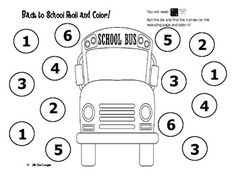 Back to School Roll and Color! by Little Miss Kindergarten Numbers Kindergarten, Kindergarten First Day, Math Numbers, Teaching Kindergarten, Kindergarten Orientation, Teaching Ideas, Classroom Freebies, Math Classroom, Classroom Ideas