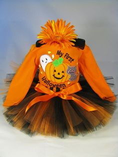 """Babys First Halloween Outfit """" My First Halloween Pumpkin Ghost Cat """" - Girls Tutu Bodysuit and Headband Set - Size 6-9 Months - HW1306 on Etsy, $38.00"""