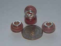 14mm Pink Bead for European Bracelet - 925 Grommets - Pack of 4 - CBM8
