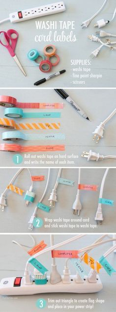 Washi tape labels for organization of electric chords! Craft tape, sorting, chea… Washi tape labels for organization of electric chords! Craft tape, sorting, cheap and easy fix Organisation Hacks, Office Organization, Office Storage, Kitchen Storage, Organize Office Supplies, Diy Organizer, Cinta Washi, The Chic Site, Ideas Para Organizar