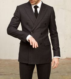 you know it looks good on yah...  double breasted grey suit - garment - HUSBANDS