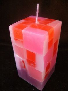 Chunk candle making with a square mold.