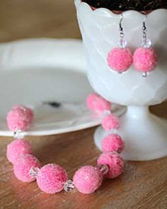 Sculpey Polymer Clay ideas for Valentine's Day - Faux Sugar Beads jewelry