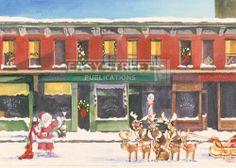 Early Sunday Santa - Edward Hopper Art Parody Boxed Christmas Cards Easy Street Publications,