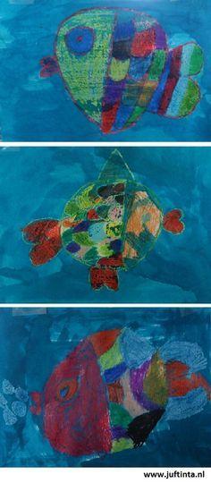 Vis tekenen met wasco en vervolgens eroverheen schilderen met blauwe ecoline. Preschool Art Projects, Creative Activities For Kids, Kindergarten Crafts, Creative Kids, Painting For Kids, Drawing For Kids, Art For Kids, Sea Crafts, Water Animals