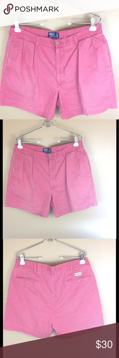 """Polo Ralph Lauren Pleated Andrew Shorts Size 36 For sale is this great pair of Ralph Lauren Polo Andrew shorts. Vintage pink salmon color, intentional fading for effect, pleated with pockets. 100% cotton  Men's Size 36  Inseam 6""""  Waist 36""""  Rise 12"""" Ralph Lauren Shorts"""