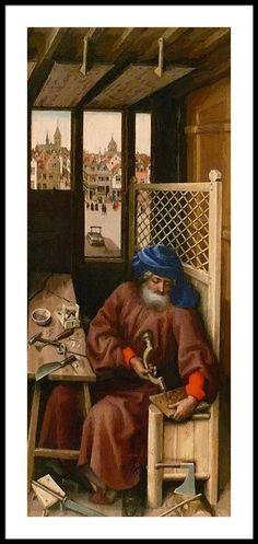 Robert Campin - Annunciation Triptych (Merode Altarpiece) (Metropolitan Museum of Art) ロベルト・カンピン Jan Van Eyck, Medieval Life, Medieval Art, Robert Campin, Renaissance Kunst, Medieval Crafts, Medieval Furniture, European Paintings, 14th Century
