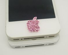 1PC Bling Pink Crystal Apple iPhone Home Button Sticker Charm for iPhone 4,4s,4g,5,5c Cell Phone Charm Valentine Gift on Etsy, $3.99