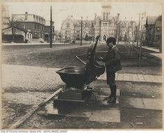 Drinking fountain at College Street and Spadina Avenue April 1899 City of Toronto Archives Series File Item 49 Toronto City, Downtown Toronto, Toronto Canada, Toronto Architecture, Toronto Photography, Drinking Fountain, Canadian History, Landscape Photos, Old Pictures