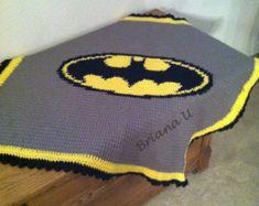 Crochet Batman Blanket Pattern ONLY by VictoriaRoseShop on Etsy