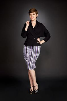 High Waisted Retro Pencil Skirt in Purple Solstice Stripe
