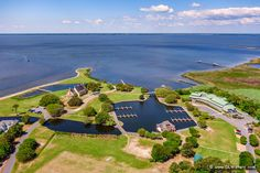 Aerial view of the Whalehead Club and the Outer Banks Center for Wildlife Education in Corolla, NC.