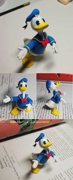 Donald Duck tutorial - could be useful for fondant or modeling chocolate