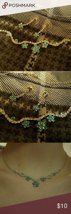 Turquoise prom jewelry set Worn once for prom. In great shape, very cute blue diamond flower earrings and adjustable necklace. Jewelry