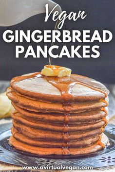 Soft and fluffy vegan gingerbread pancake. The perfect vegan breakfast or vegan  brunch for the holidays!