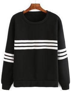 Black Long Sleeve Varsity-Striped Sweatshirt.  -SheIn
