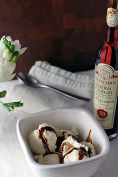 """""""Balsamic drizzled ice cream. You'd be surprised...it's SO good. Raspberry balsamic is my fave."""" #spring #recipe #springrecipes #raspberry #icecream"""