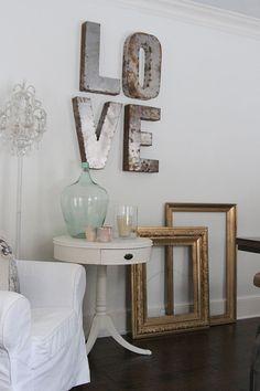 Love metal sign // empty frames // studio living
