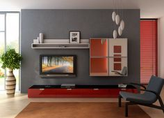 Living Room Designs: Grey Wall Big Plant Pot Red Cabinets Brown Carpet Four Square Mirrors Minimalist Interior Design Living Room, Interior Design, Lamp Small Living Room Design, Paint Colors For Living Room, Design Room, Living Room Grey, Small Living Rooms, Living Room Decor, Modern Living, Modern Tv, Simple Living