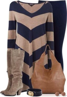 Taupe & Navy Outfit ❥