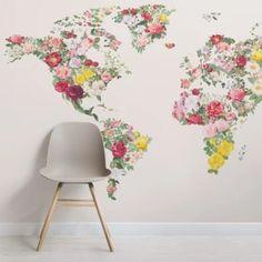 Colorful Vintage Flower World Map Wallpaper Mural | Hovia