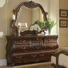 Caravelle Warm Walnut Dresser and Mirror