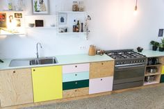 Atelier Antipode | Kitchen in plywood, OSB and colorful HPL laminate