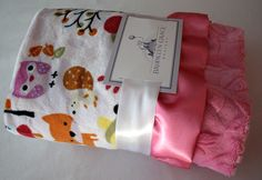 Adorable Cuddle Collection Own, Fox and Friends Minky Blanket with Pink Satin Trim - Baby Girl, Crib Bedding, Infant and Toddler by BrooklynGraceBabies on Etsy https://www.etsy.com/listing/224427441/adorable-cuddle-collection-own-fox-and