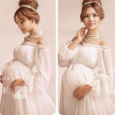 Maternity Royal Style White Maternity Lace Dress Pregnant Photography Props Pregnancy maternity photo shoot long dress Nightdress