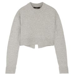 Tibi Cropped cashmere sweater ($980) ❤ liked on Polyvore featuring tops, sweaters, grey, loose fit crop top, gray sweater, tibi sweaters, cropped sweater and grey sweater