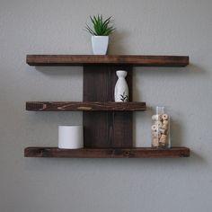 Items similar to Modern Rustic 3 Tier Wall Shelf on Etsy Diy Wand, Diy Wall Decor, Diy Home Decor, Bedroom Decor, Bedroom Ideas, Girls Bedroom, Master Bedroom, Wood Wall Shelf, Wood Shelves