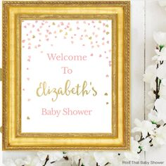 Baby Shower Welcome Sign  Pink and Gold by PrintThatBabyShower