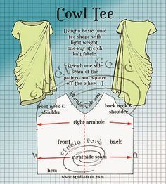 well-suited: Pattern Puzzle - Cowl Tee Another elegant lovely curtesy of Studio Faro! Sewing Hacks, Sewing Tutorials, Sewing Projects, Pattern Cutting, Pattern Making, Pdf Sewing Patterns, Clothing Patterns, Bordado Popular, Modelista