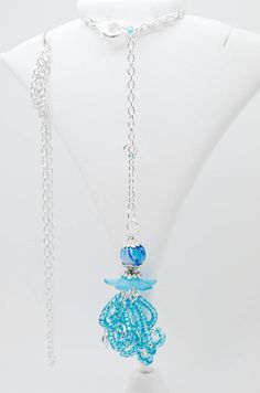 Handmade artistic wire wrapped necklace - JELLYFISH - Silver plated and silver tone pendant and necklace with glass and acrylic beads by BiancaFerrando on Etsy