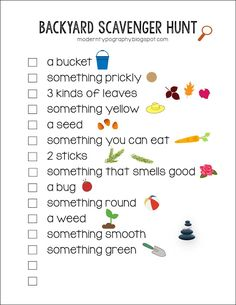 Free printable Backyard Scavenger Hunt Checklist with visuals for toddlers and early readers. Great summer activity to get the kids outside playing and inspire exploration