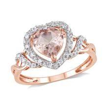 Heart Morganite and Diamond Halo Ring 1/10ctw
