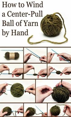 How to wind a center-pull ball of yarn by hand took from facebook